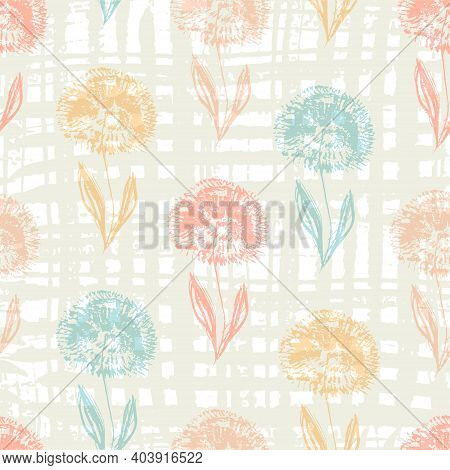 Cute Light Seamless Pattern With Textured Hand Drawn Colorful Dandelion Flowers. Grunge Sketch Vecto