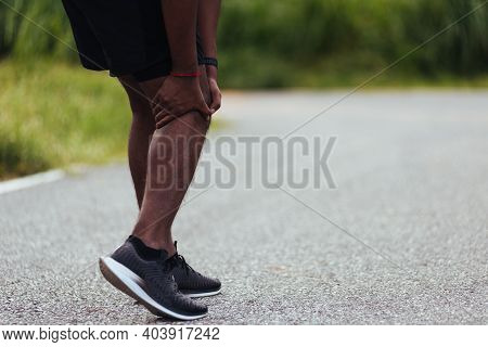 Asian Young Athlete Sport Runner Black Man Stand Wear Feet Shoe Active Running Training At Outdoor H