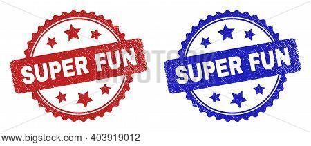 Rosette Super Fun Seals. Flat Vector Scratched Seals With Super Fun Phrase Inside Rosette Shape With