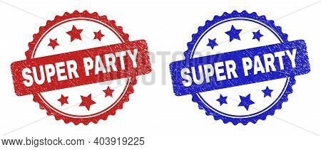 Rosette Super Party Stamps. Flat Vector Grunge Seal Stamps With Super Party Caption Inside Rosette W