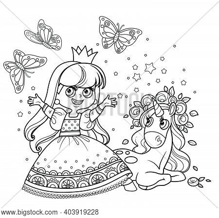 Cute Princess In Ball Dress With Cute Unicorn Baby In Roses Wreath Outlined For Coloring Book