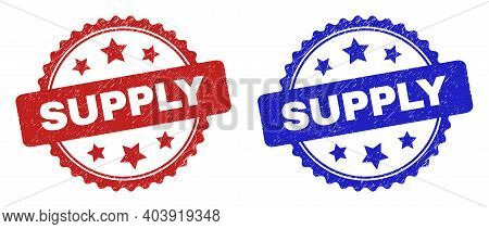 Rosette Supply Seals. Flat Vector Scratched Seals With Supply Caption Inside Rosette With Stars, In