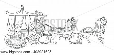 The Little Princess Gets Out Of The Carriage Pulled By Horses With The Coachman Outlined For Colorin