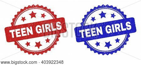 Rosette Teen Girls Seals. Flat Vector Scratched Watermarks With Teen Girls Text Inside Rosette With