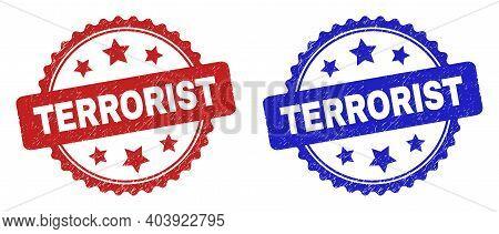 Rosette Terrorist Seal Stamps. Flat Vector Grunge Seal Stamps With Terrorist Text Inside Rosette Wit