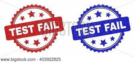Rosette Test Fail Watermarks. Flat Vector Grunge Watermarks With Test Fail Caption Inside Rosette Sh