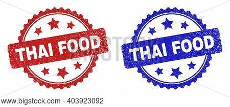 Rosette Thai Food Watermarks. Flat Vector Scratched Watermarks With Thai Food Text Inside Rosette Sh