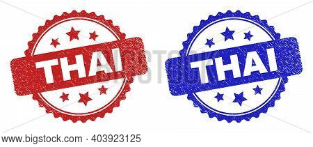 Rosette Thai Stamps. Flat Vector Scratched Seal Stamps With Thai Text Inside Rosette Shape With Star
