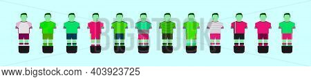 Set Of Soccer Player Cartoon Icon Design Template With Various Models. Modern Vector Illustration Is