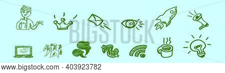 Set Of Storytelling Cartoon Icon Design Template With Various Models. Modern Vector Illustration Iso