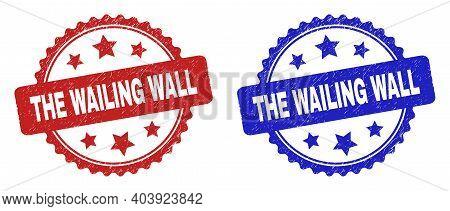 Rosette The Wailing Wall Watermarks. Flat Vector Distress Watermarks With The Wailing Wall Caption I