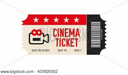 Cinema Ticket With Barcode Vector Icon. Movie Ticket Template. Realistic Cinema Theater Admission Pa