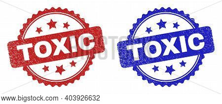 Rosette Toxic Seal Stamps. Flat Vector Scratched Seal Stamps With Toxic Caption Inside Rosette Shape