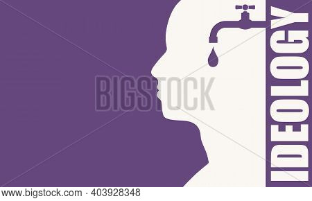 Faucet In The Head Of A Person. Mental Health Relative Brochure Or Report Design Template. Ideology