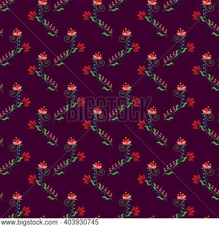 Fancy Flowers On A Burgundy Background. Pattern With A Simple Drawing Stylized As Folklore. Vector I