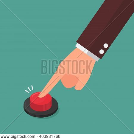 Hand Pressing The Red Button. Vector Illustration