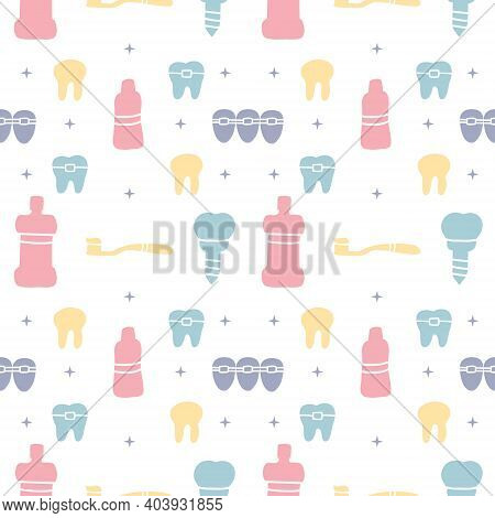 Dental Care, Orthodontics Seamless Pattern With Line Icons. Dentist, Medical Equipment, Braces, Toot