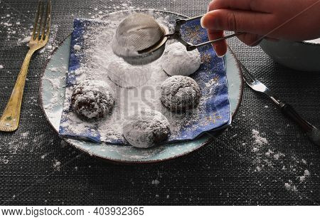 Marble Cookies On A Wooden Table Sprinkled With Icing Sugar/ Closeup Still Life Food Photography/ De