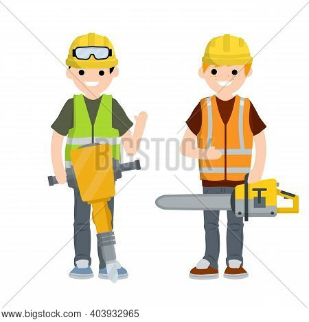 Construction Work. Clothing And Tools Worker. Yellow Uniform, Gloves, Jackhammer, Goggles, Green Ves