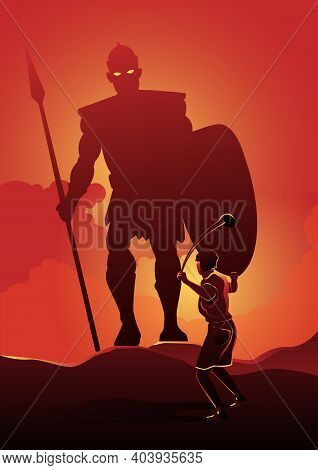 An Illustration Of David Facing Goliath In The Battle Field. Biblical Series
