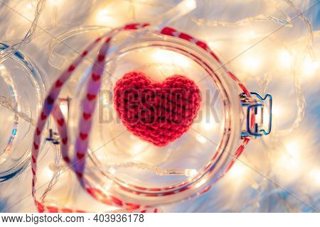 Heart Shape In Jar And Light Decorative Bokeh. Love, Valentine And Holiday Concept.