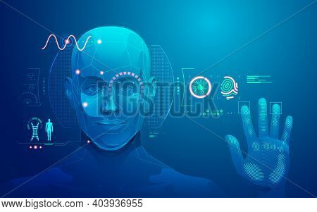 Concept Of Biometrics Technology, Graphic Of Human Face And Fingerprint Scanning Interface
