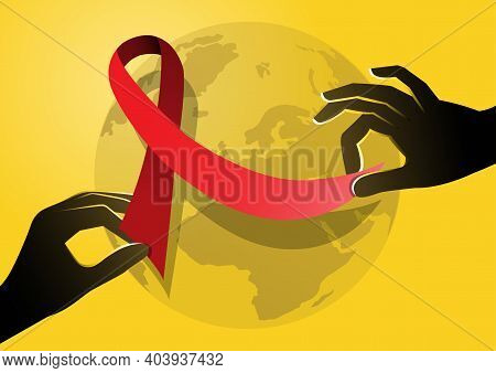 An Illustration Of Two Hands Holding Red Ribbon. World Aids Day Poster.
