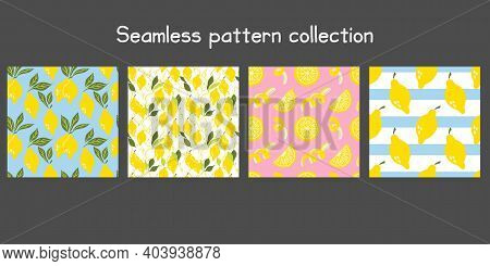 Lemon Seamless Pattern Set. Exotic Tropical Yellow Citrus Fruit. Juicy Slice And Peel, Leaves And Fl