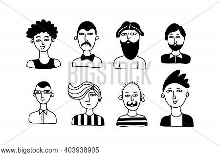 Doodle Man. Hand Drawn Male Faces With Contemporary Haircut And Beard, Social Media User Avatars, Hi