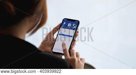 Chiang Mai, Thailand - Jan 17, 2021 : Facebook Social Media App Logo On Log-in, Sign-up Registration