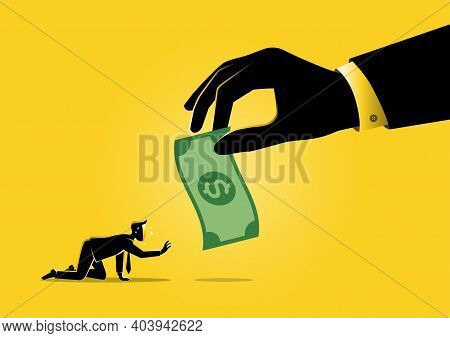An Illustration Of A Big Human Hand Gives Money To Businessman