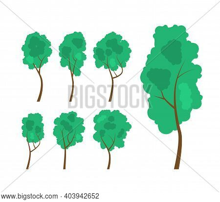 Set With Trees For Your Design. Forest And Hedges. Cartoon Vector Illustration In Flat Style. Eps10