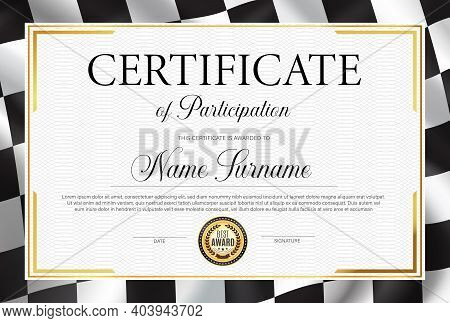 Certificate Of Participation, Diploma Vector Template With Black And White Chequered Rally Flag. Rac