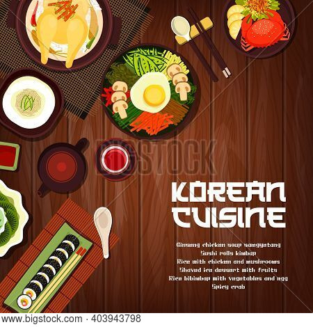 Korean Cuisine Vector Sushi Rolls Kimbap, Crab And Rice With Chicken And Mushrooms. Ginseng Soup Sam