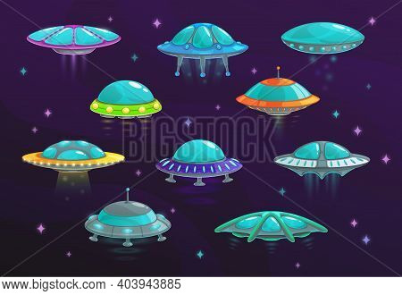 Ufo And Alien Spaceship Cartoon Set Of Vector Spacecraft. Space Ships, Rockets, Unidentified Flying