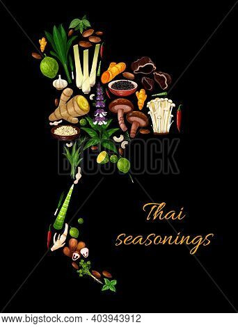 Thai Herbs, And Seasonings, Food Cooking Vegetables And Condiments, Vector. Thailand Map Of And Herb