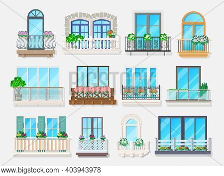 Balconies With Windows Vector Design Of House And Apartment Building Facade Architecture Element. Ho