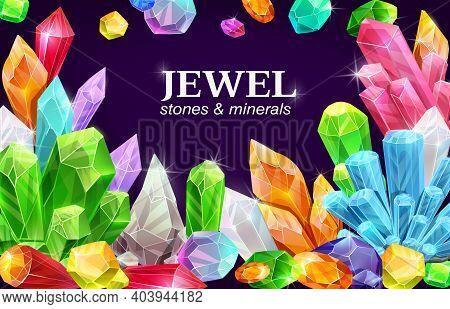 Shiny Jewel, Gemstones And Crystals Poster. Precious Gems For Jewelry, Semi-precious Minerals, Polis