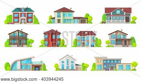 Houses, Villas And Mansion Real Estate Building Icons. Luxury Bungalow, Modern Cottage And Contempor