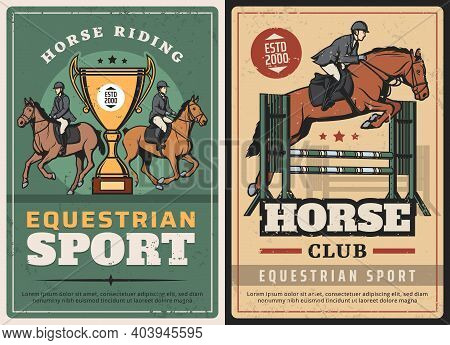 Equestrian Sport, Horse Riding And Race On Hippodrome Vintage Posters. Vector Jockeys Competitions,