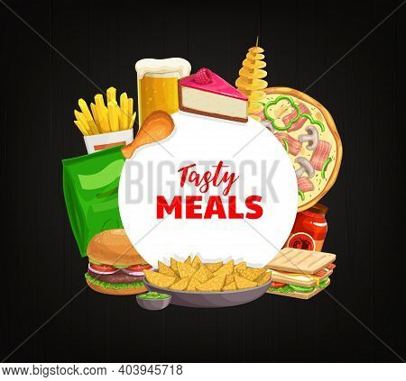 Fast Food Round Banner Vector French Fries, Dessert Cake And Beer With Spiral Potato. Pizza, Ketchup