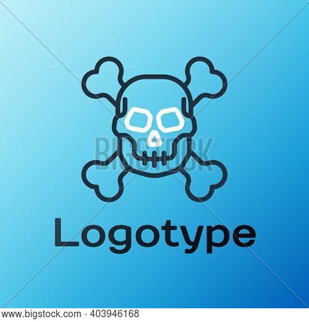 Line Skull On Crossbones Icon Isolated On Blue Background. Happy Halloween Party. Colorful Outline C