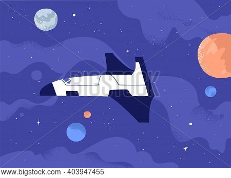 Futuristic Galactic Spaceship Flying In Open Space Among Planets And Stars. Cosmos Exploration Conce