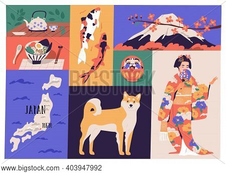 Collage Of Japanese National Culture, Art And Traditions. Traditional Cuisine, Dharma Doll, Map Of J