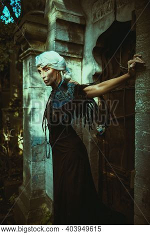 Fantasy World. An aristocratic old widow woman with beautiful gray hair and a rich black dress stands majestic and formidable by a crypt in a cemetery. Black Widow. Halloween.