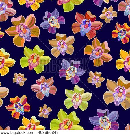 Seamless Background With Flowers, Orchids - Butterflies. Seamless Pattern, Vector Illustration On Bl