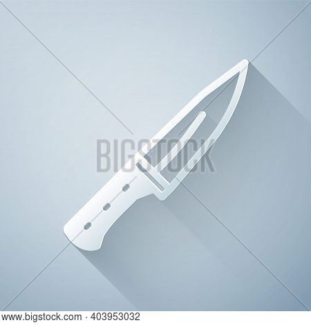 Paper Cut Meat Chopper Icon Isolated On Grey Background. Butcher Knife. Kitchen Knife For Meat. Butc