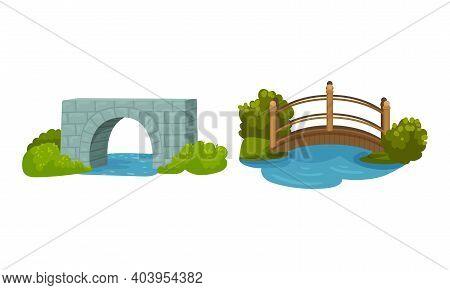 Brick And Metal Bridge As Road Over Water Vector Set