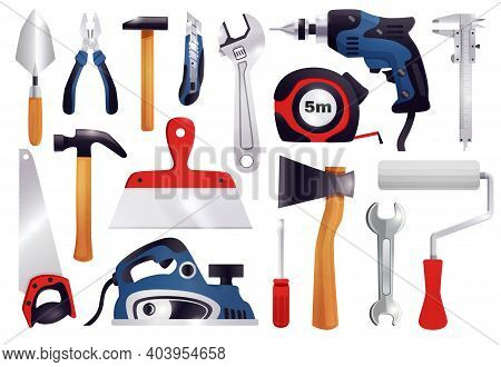 House Repair Renovation Remodeling Realistic Carpentry Tools Set With Claw Hammer Saw Screwdriver Me