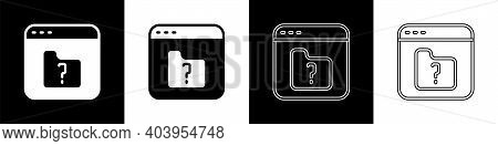 Set File Missing Icon Isolated On Black And White Background. Vector